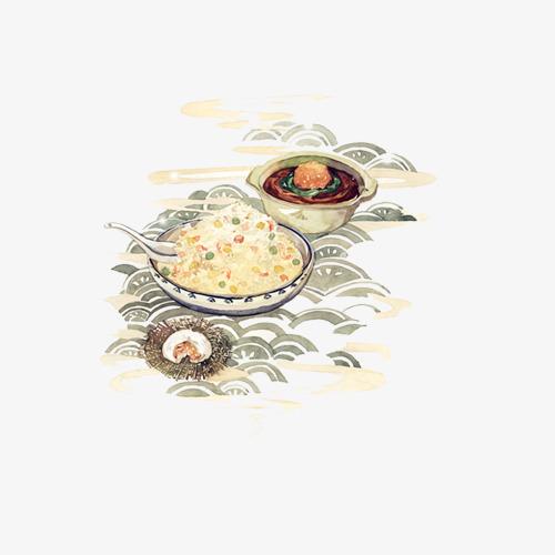扬州炒饭手绘画素材图片