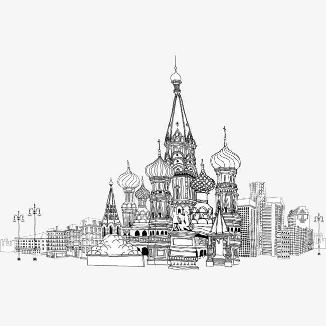 手绘建筑物