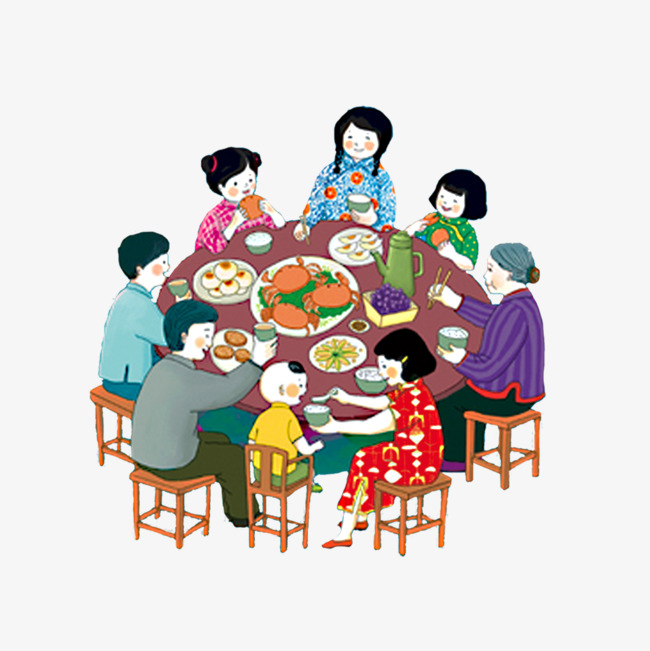 家庭团圆饭 一家人 吃饭 年夜饭免扣素材
