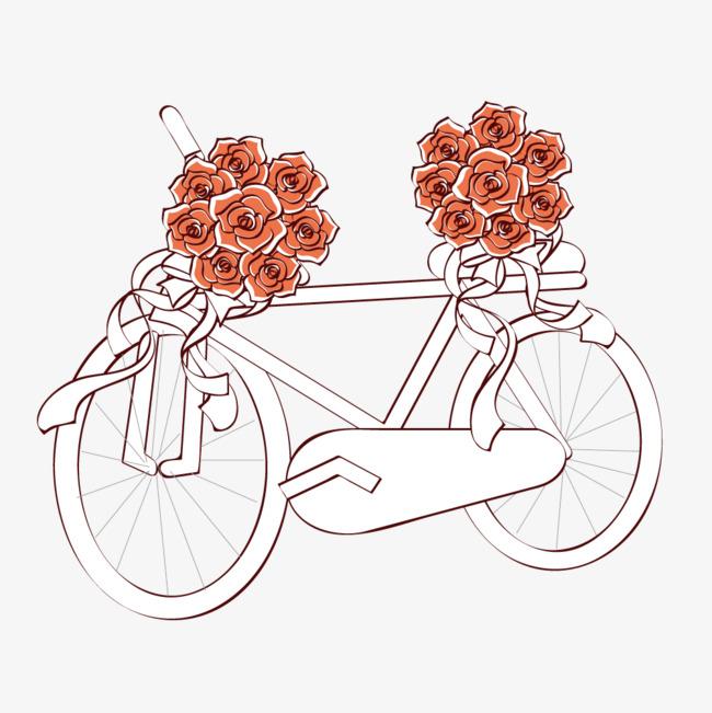矢量手绘鲜花自行车