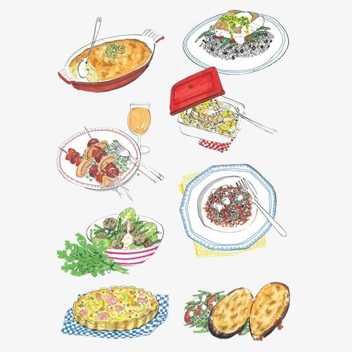 烧烤大餐手绘画素材图片