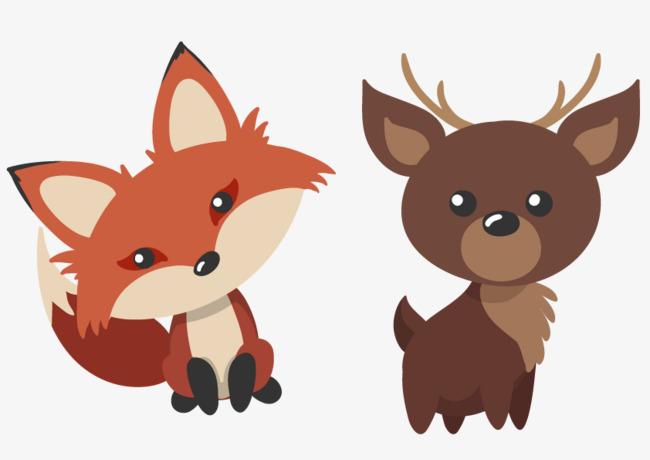 狐狸动物小鹿手绘