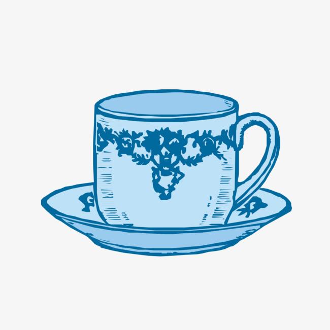 手绘蓝色杯子图案