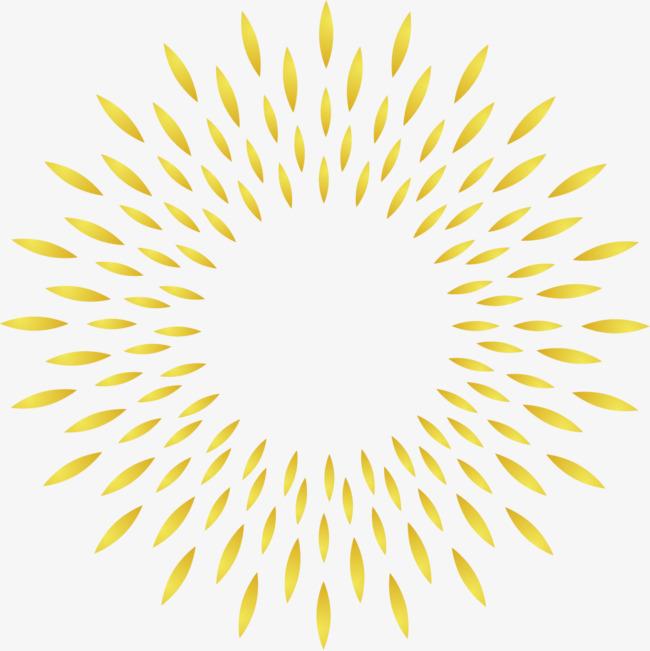 矢量手绘金色圆环