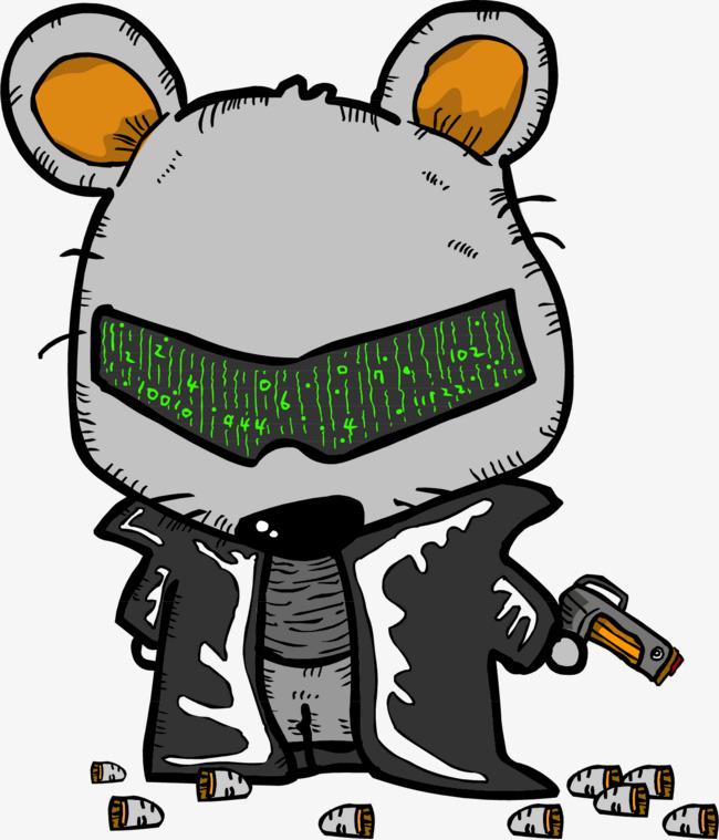 90设计提供高清png手绘动漫素材免费下载,本次矢量手绘拿枪的老鼠作品