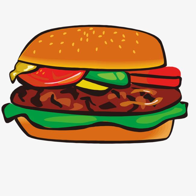 卡通手绘汉堡图案