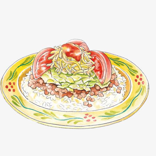 西红柿鸡蛋炒饭手绘画素材图片