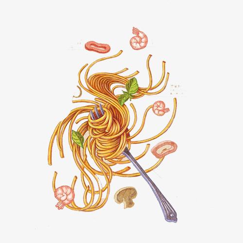 叉子吃面手绘画素材图片