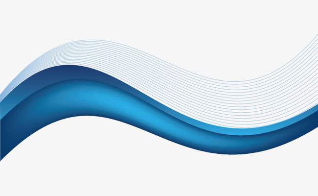 蓝色背景矢量卡通波浪线