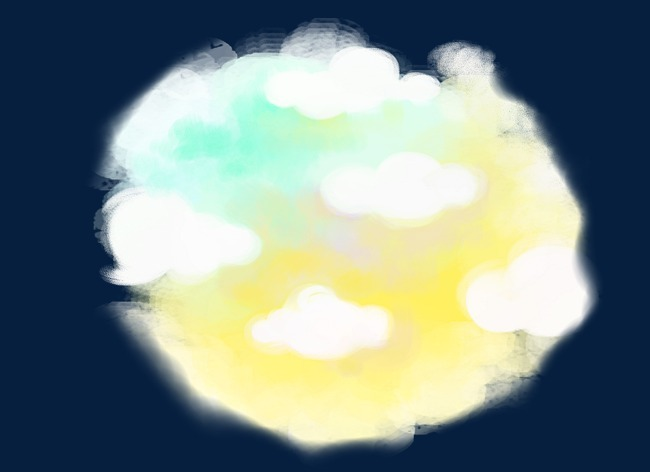 手绘七彩云朵卡通装饰