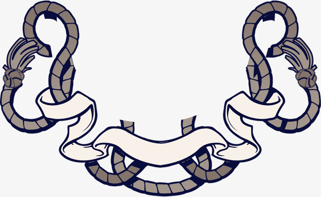 矢量手绘绳子标签