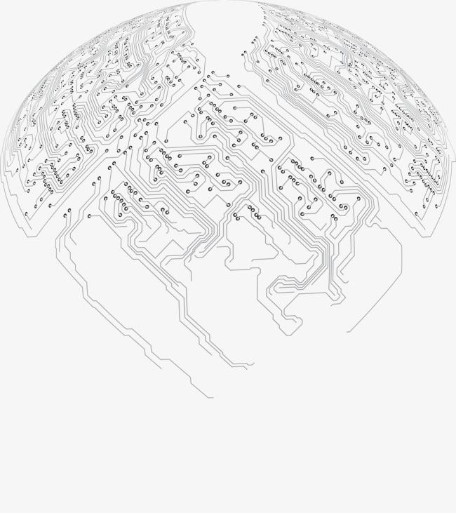 圆形矢量电路板布线图素材