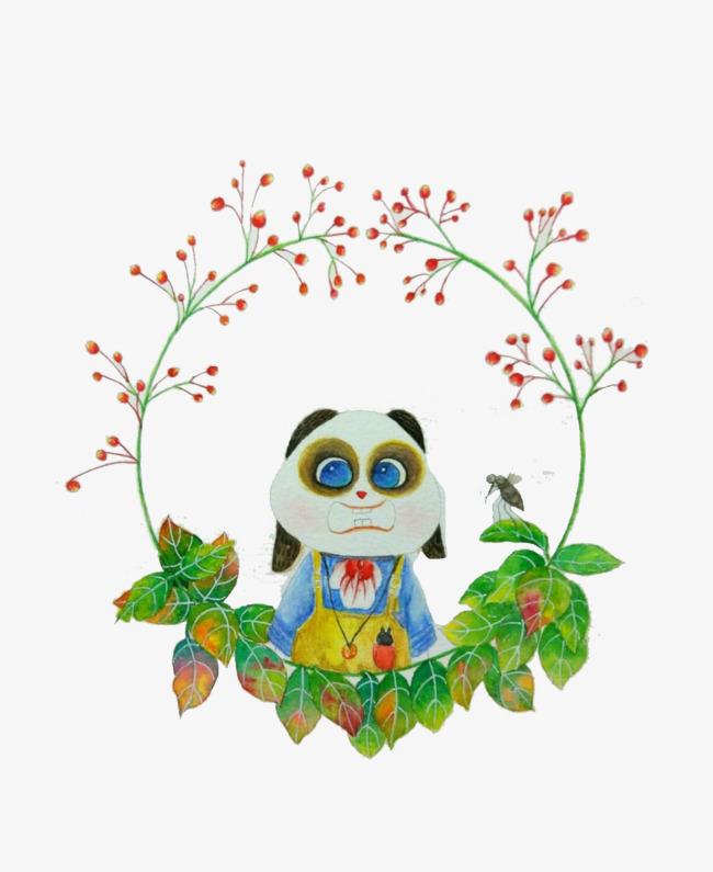 熊猫与叶子边框素材