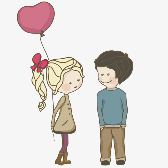 拿着气球的女孩与男孩素材图片免费下载_高清