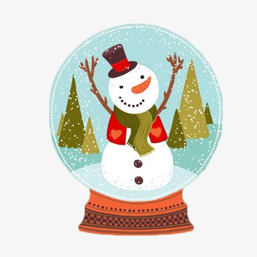 卡通手绘雪人水晶球图片