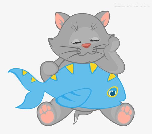 卡通小猫吃鱼素材
