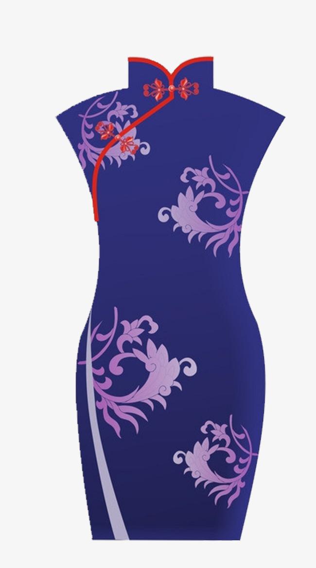 紫色中国风花纹旗袍