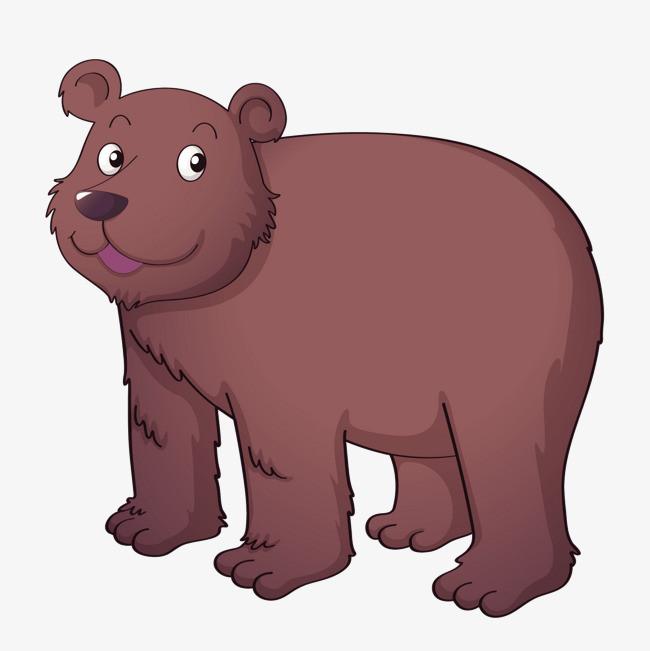 卡通狗熊简笔画_矢量卡通棕色憨厚狗熊