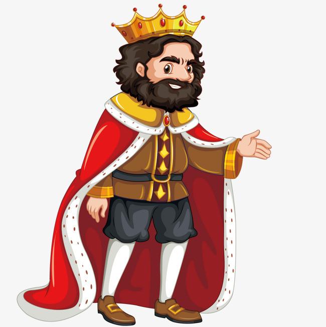 穿着红色披风的国王矢量图片