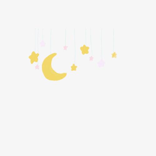 悬挂的月亮星星卡通手绘