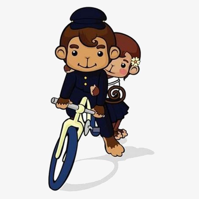 骑自行车的猴子情侣
