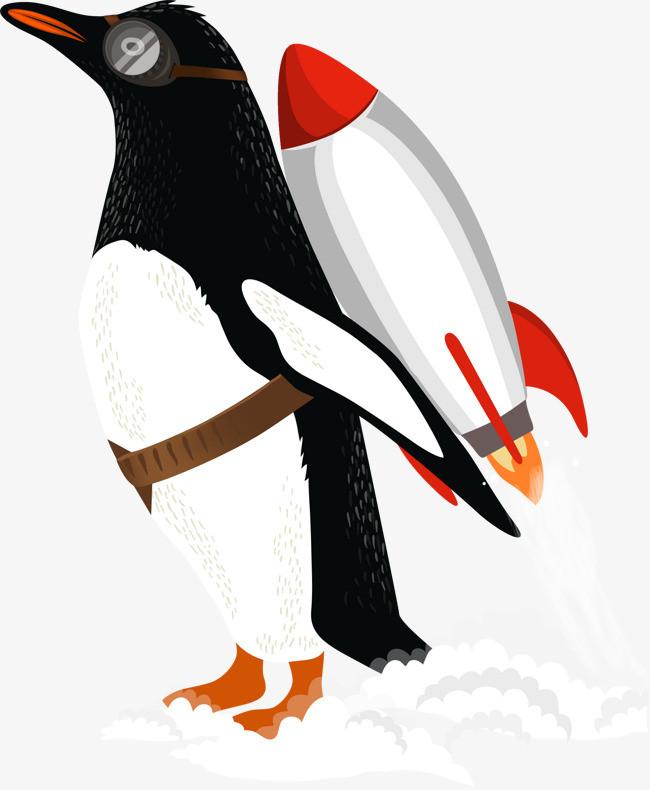 矢量手绘企鹅火箭