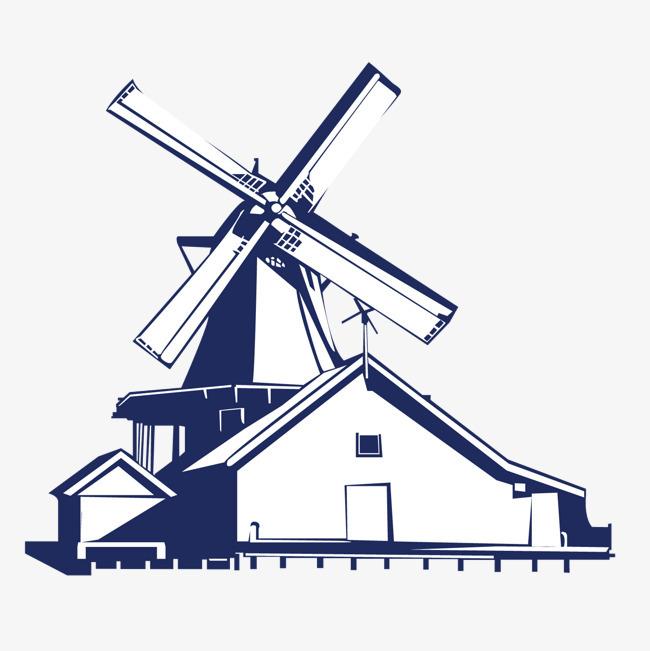矢量手绘荷兰风车