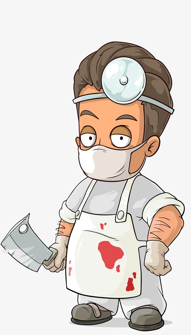 矢量多色卡通戴口罩医生男孩图片