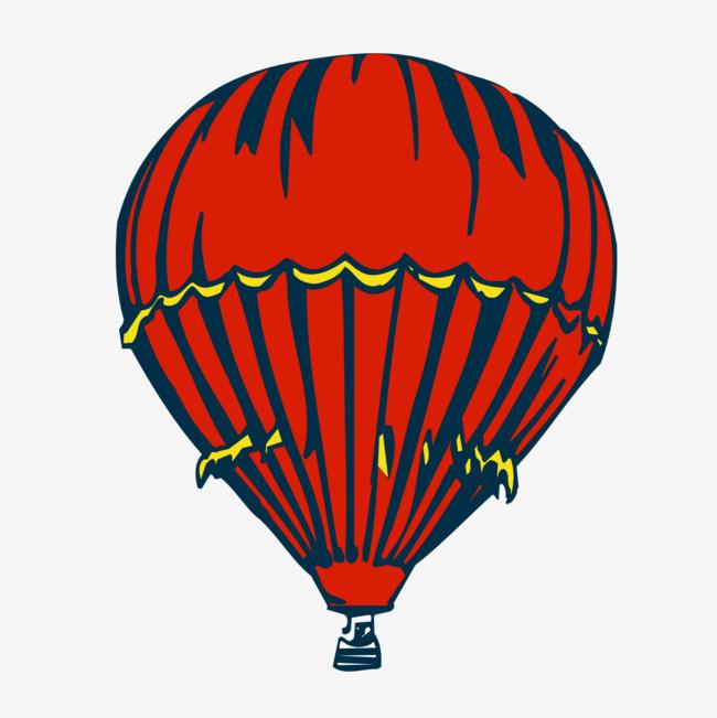 手绘红色降落伞
