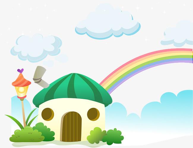 可爱蘑菇小屋彩虹插图矢量