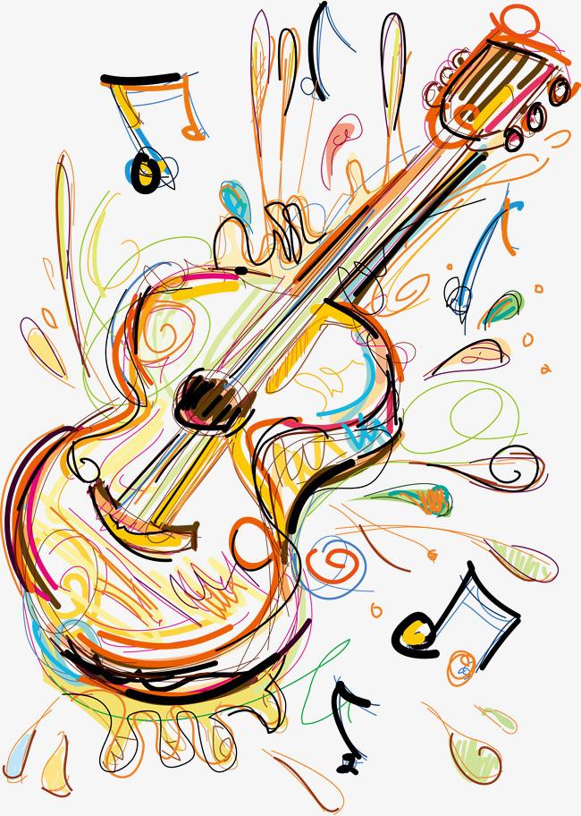 卡通手绘吉他彩色卡通素材