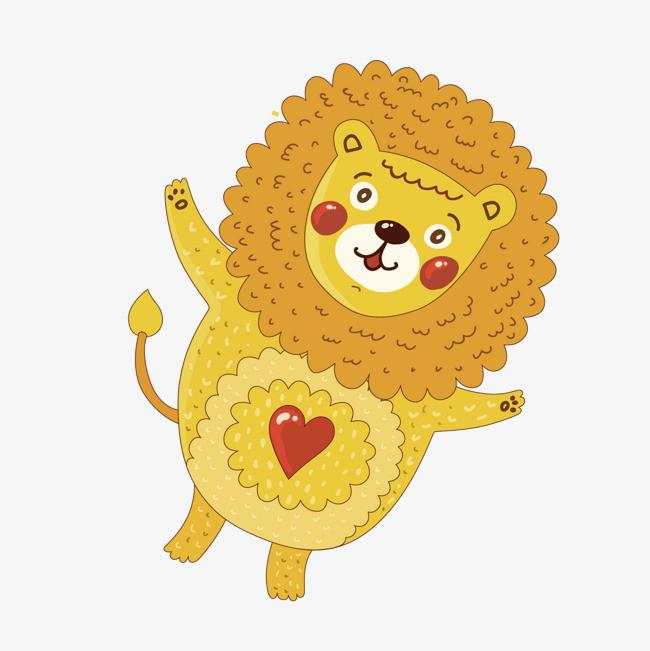 矢量卡通儿童画黄色狮子图片