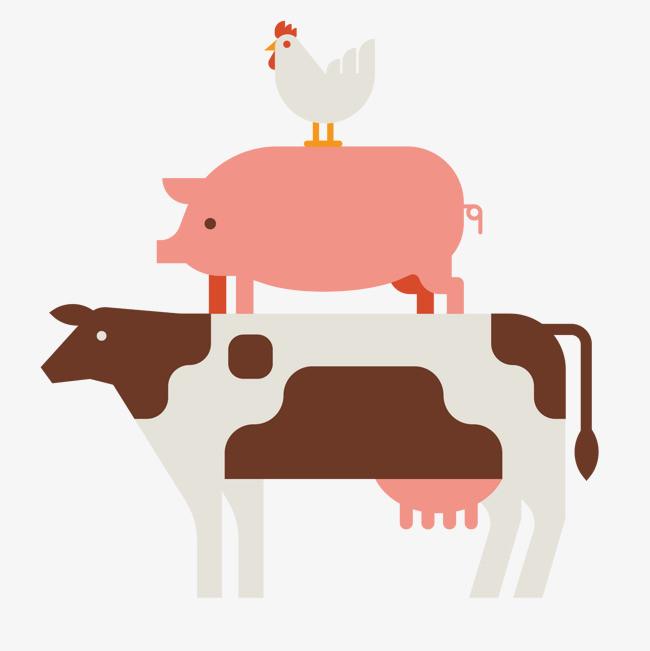 图片 > 【png】 矢量奶牛猪鸡  分类:手绘动漫 类目:其他 格式:png 体