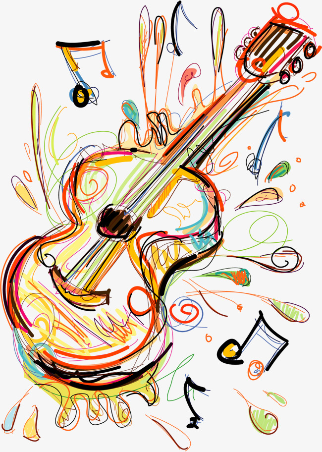 矢量手绘涂鸦吉他