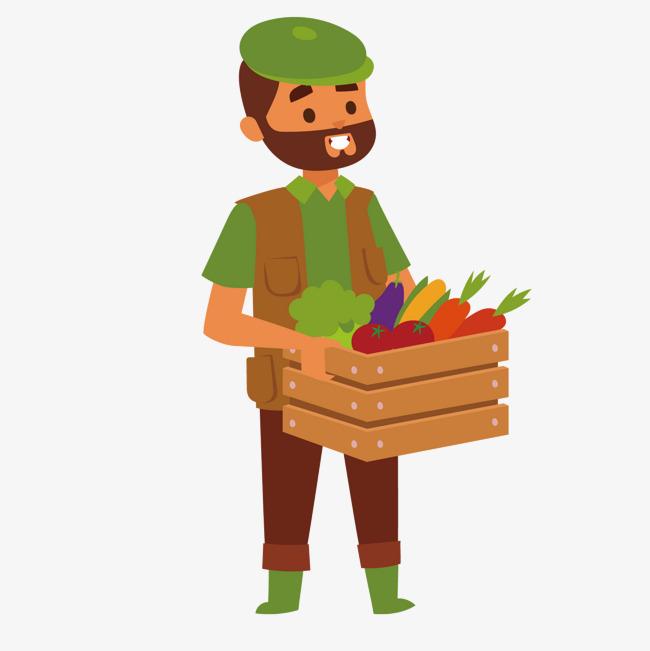 农夫的工具_矢量绿色衣服农夫蔬菜