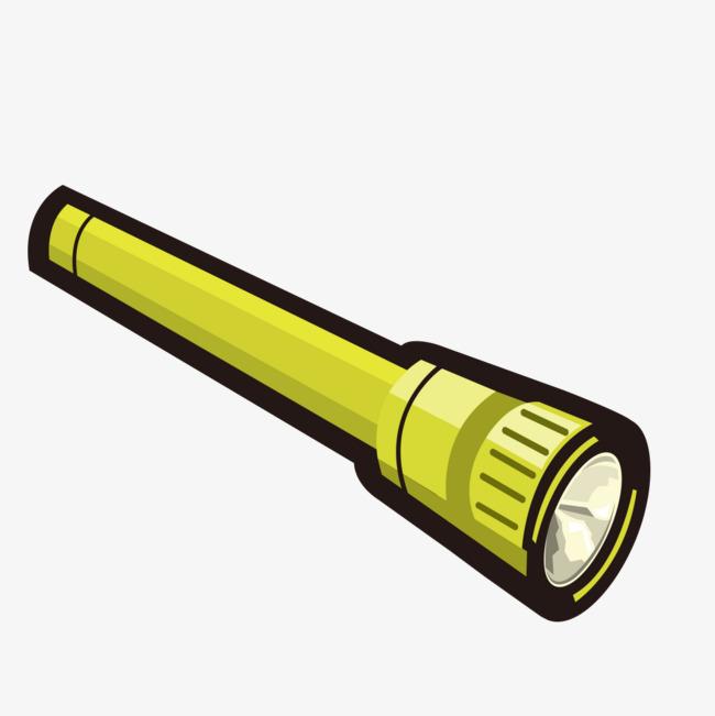 手绘绿色电筒图样