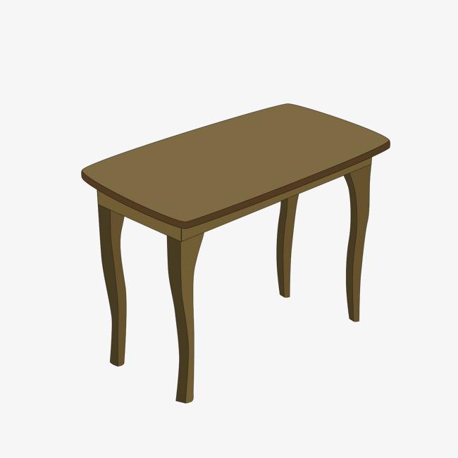 矢量木质方形桌子