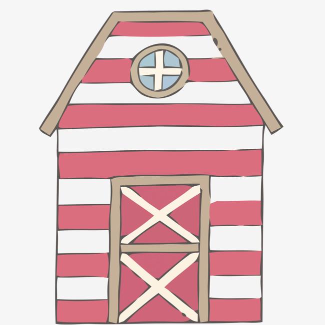 矢量手绘粉色房屋装饰素材