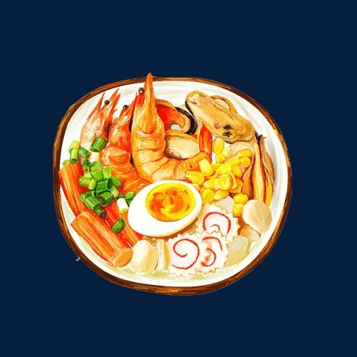 海鲜面手绘画素材图片