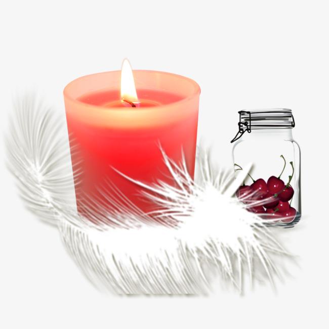 蜡烛樱桃羽毛免抠素材