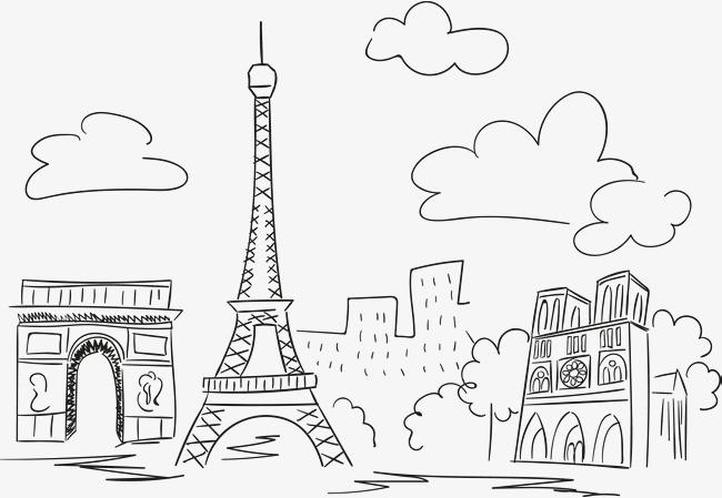手绘线条巴黎建筑