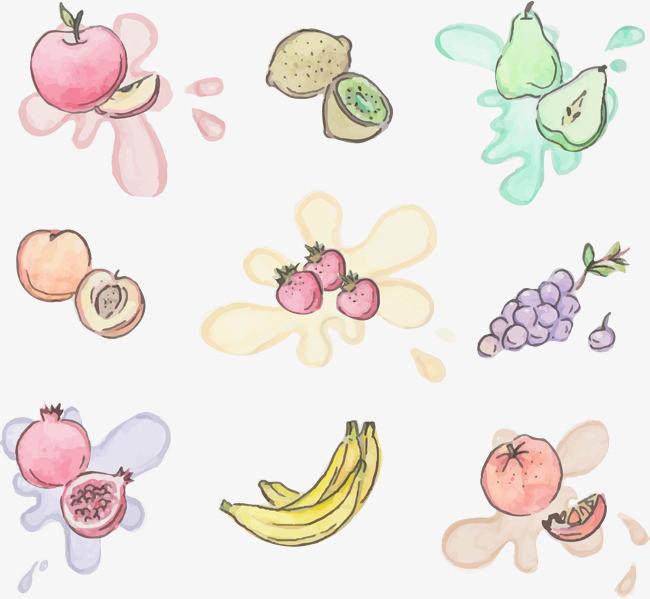 矢量手绘水彩水果