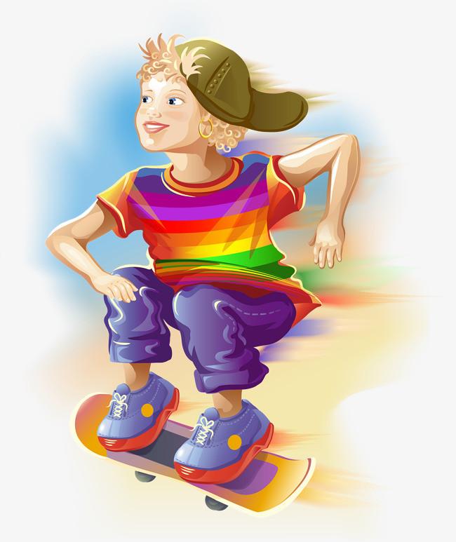 手绘滑板少女素材