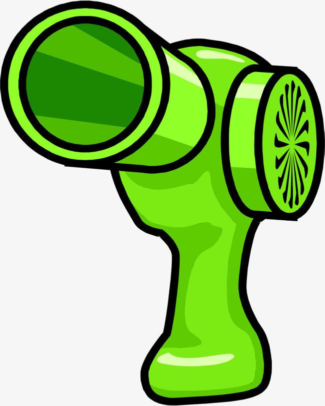 矢量手绘绿色吹风机