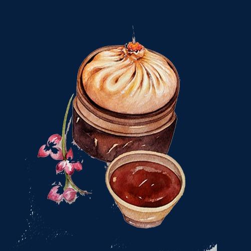 灌汤肉包手绘画素材图片