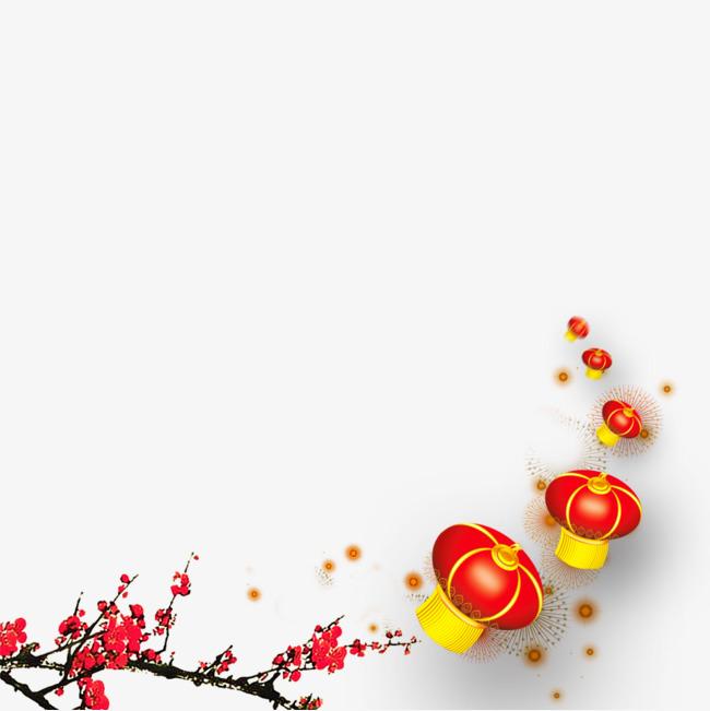 中国风梅花灯笼【高清效果元素png素材】-90设计