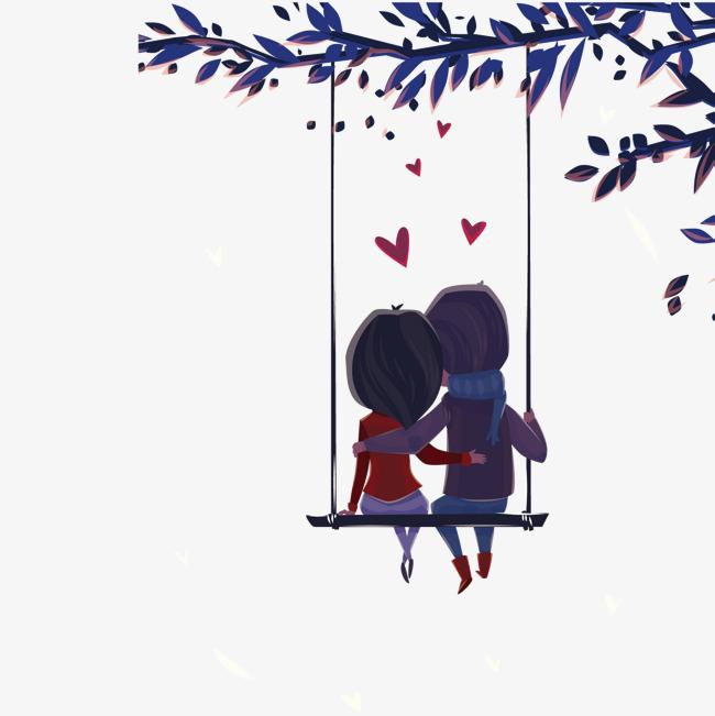 图片 > 【png】 卡通坐在秋千上的情侣背影  分类:手绘动漫 类目:其他
