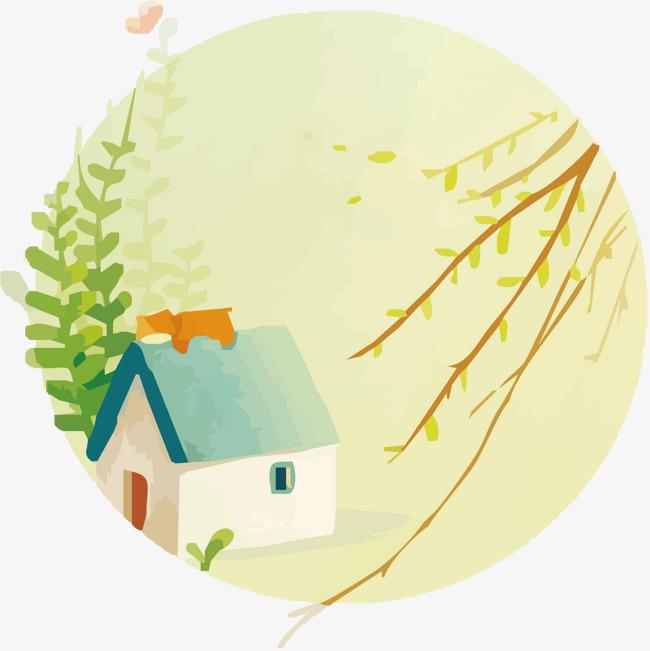 手绘房屋与植物
