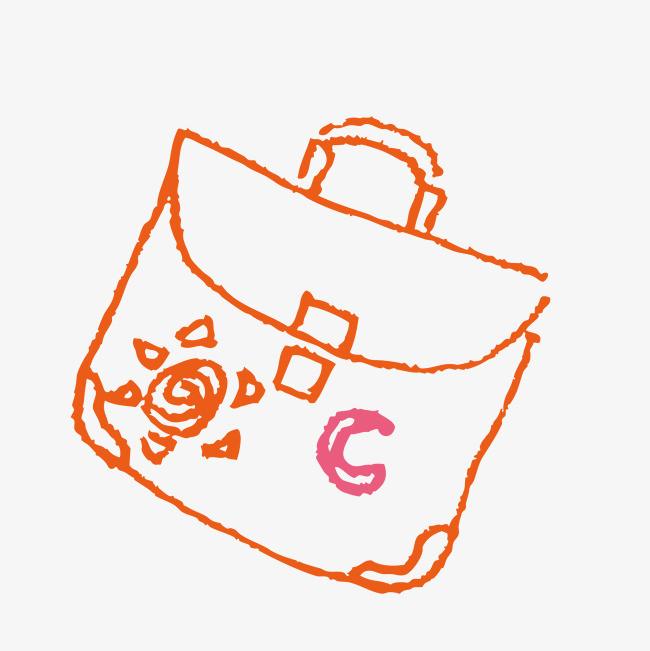 橙色手绘书包