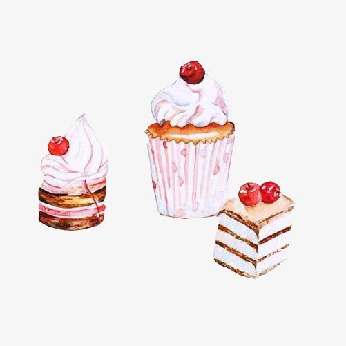 樱桃奶糕手绘画素材图片